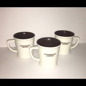 Set of 3 Starbucks New Bone White China Mugs 2009